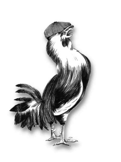 Le Coin Bistro rooster wearing a cap