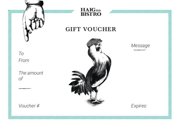 View of bistro gift voucher